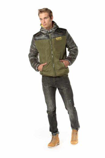 Devergo pánská prošívaná bunda s kapucí khaki
