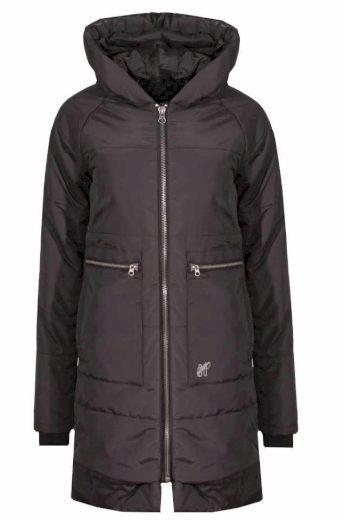 Devergo dámský prošívaný kabát s kapucí tmavě hnědý