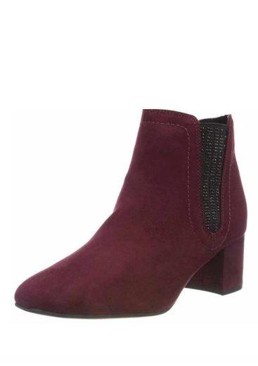 Marco Tozzi  kotníkové chelsey boty na podpatku 2-25023-31 bordo