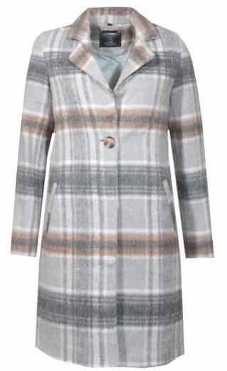 Rino&Pelle dámský károvaný kabát SANOUK s vlnou šedý