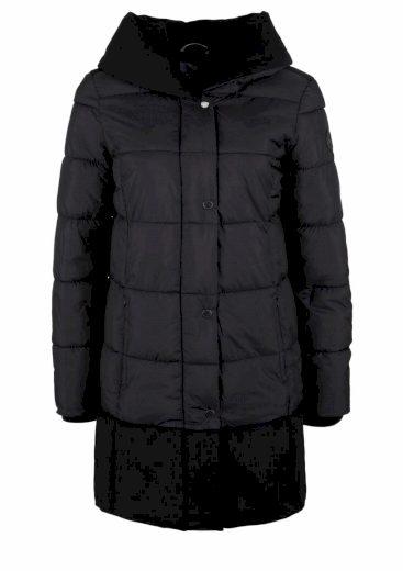s.Oliver dámský prošívaný kabát v kombinaci materiálů černý