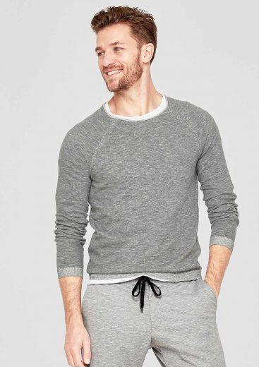 s.Oliver pánský svetr s kulatým výstřihem šedý
