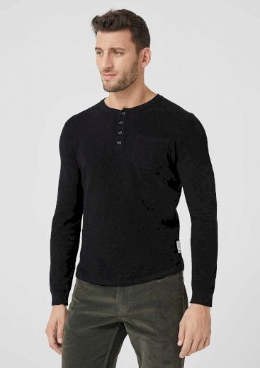 s.Oliver pánský lehký svetr s kulatým výstřihem černý
