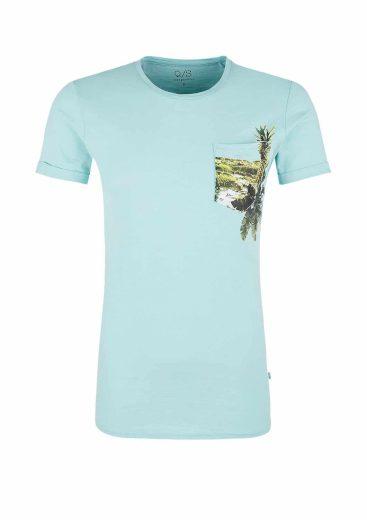 s.Oliver pánské triko s kapsičkou a potiskem mentolové