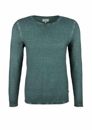 s.Oliver pánský svetr sepraný vzhled láhvově zelený