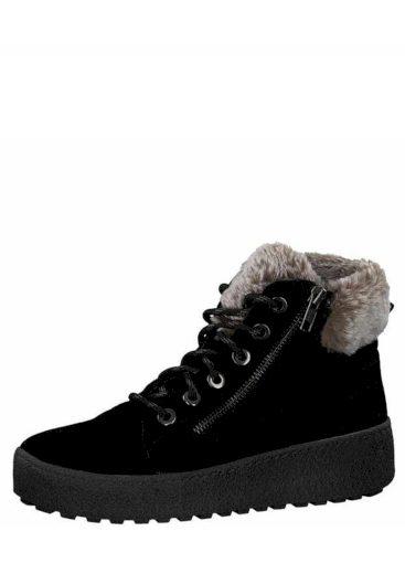 s.Oliver dámská kožená kotníková obuv na platformě 5-25239-21 černá