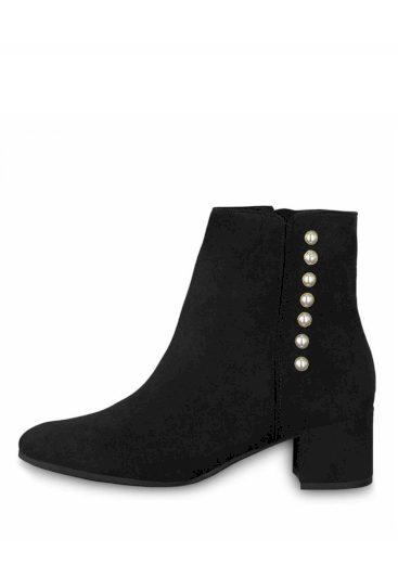 Tamaris  kotníkové  boty na podpatku 1-25360-21 s perlami black
