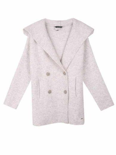 Top Secret dámský pletený kabát s kapucí šedý