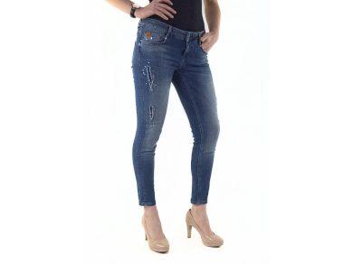 M.O.D. dámské 7/8 skinny džíny sina s poničenými detaily matira blue