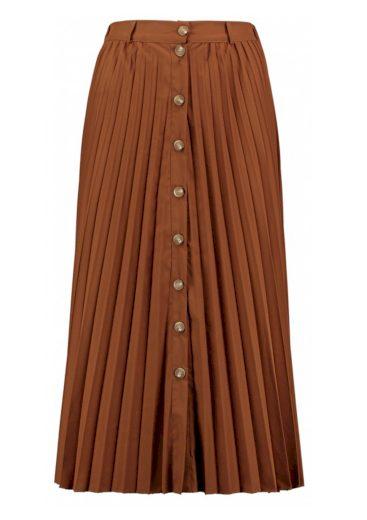 Hailys dámská propínací dlouhá plisovaná sukně Lari hnědá