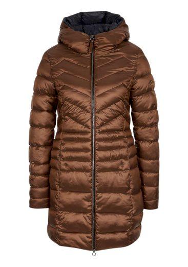 s.Oliver dámský prošívaný kabát s leskem hnědý
