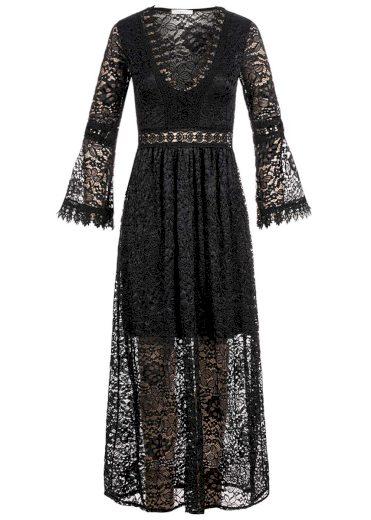 Hailys dámské krajkové maxi šaty Cesia černé