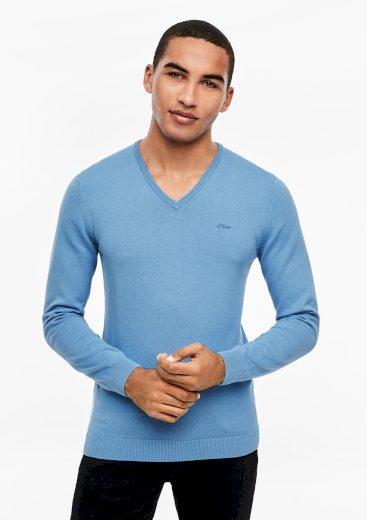 s.Oliver pánský lehký svetr s výstřihem do V světle modrý