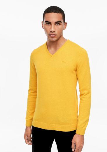s.Oliver pánský lehký svetr s výstřihem do V žlutý
