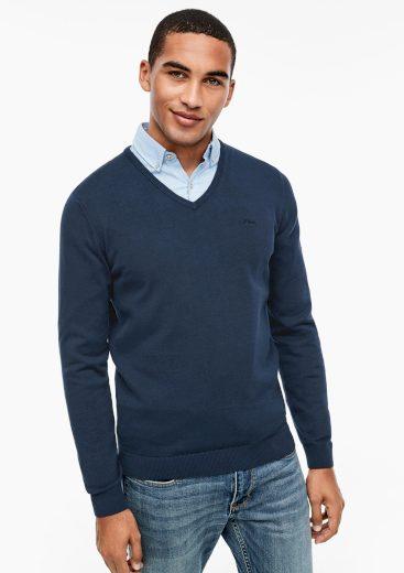 s.Oliver pánský lehký svetr s výstřihem do V tmavě modrý