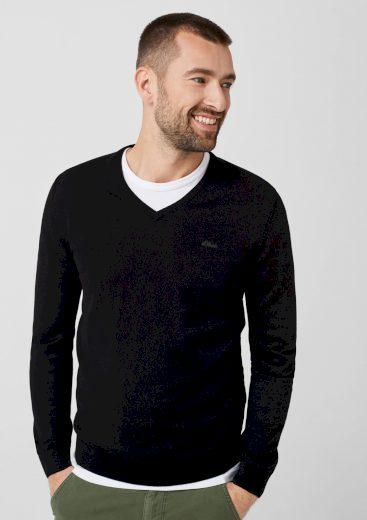 s.Oliver pánský lehký svetr s výstřihem do V černý