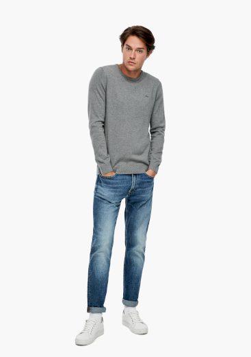 s.Oliver pánský lehký svetr jemně melírovaný šedý