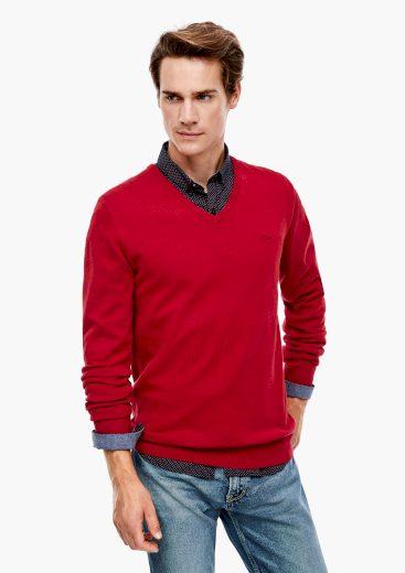 s.Oliver pánský lehký svetr s výstřihem do V tmavě červený