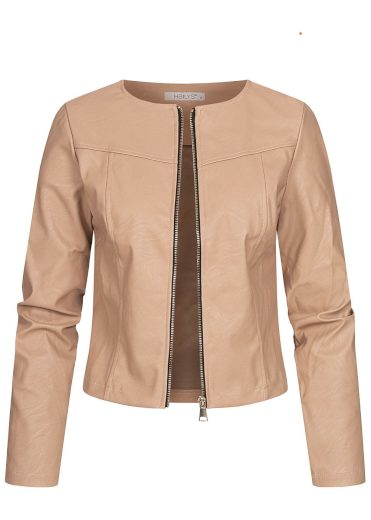 Hailys  lehká dámská koženková bunda Mona béžová