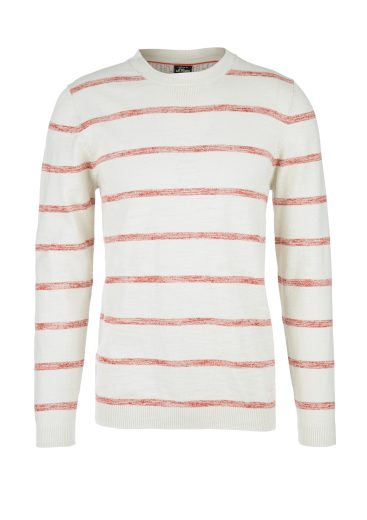 s.Oliver pánský lehký svetr s proužkovaným vzorem krémový