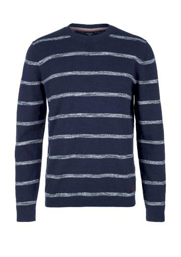 s.Oliver pánský lehký svetr s proužkovaným vzorem modrý