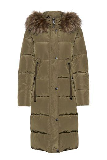 b.young dámský prošívaný kabát s kapucou olivový