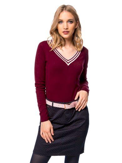 Heavy Tools dámský pletený svetr Hazel s výstřihem do V vínový