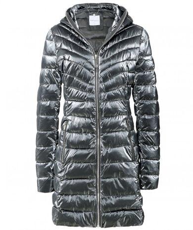 Rino & Pelle dámský prošívaný kabát Colette s kapucí šedý