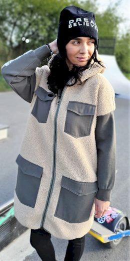 Devergo dámský teddy kabát s kapucí béžový
