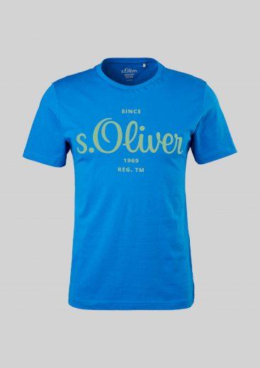 s.Oliver pánské triko s krátkým rukávem a zeleným potiskem námořnické modré