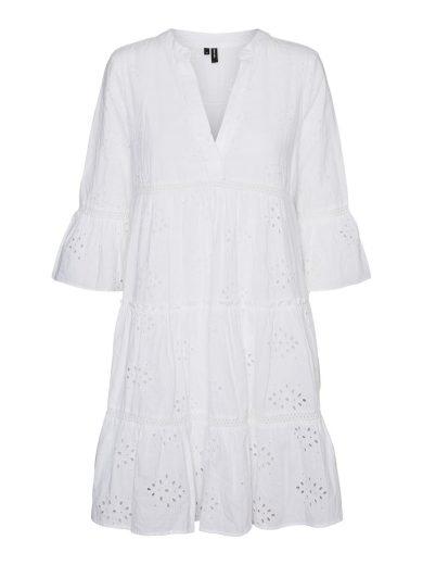 Vero Moda dámské volánové madeira šaty Dicthe bílé