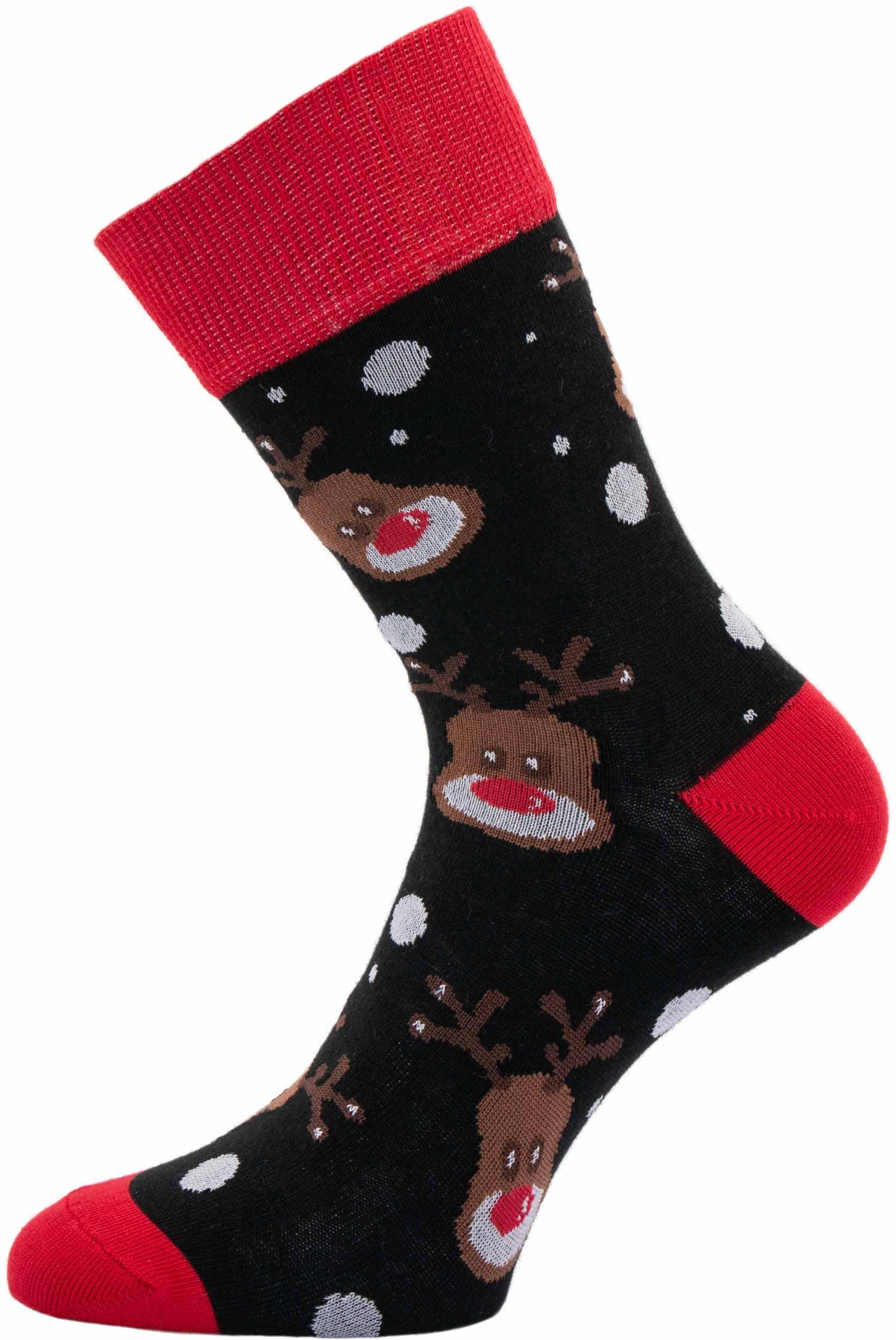 Dámské vánoční ponožky Sobi černé 37-41