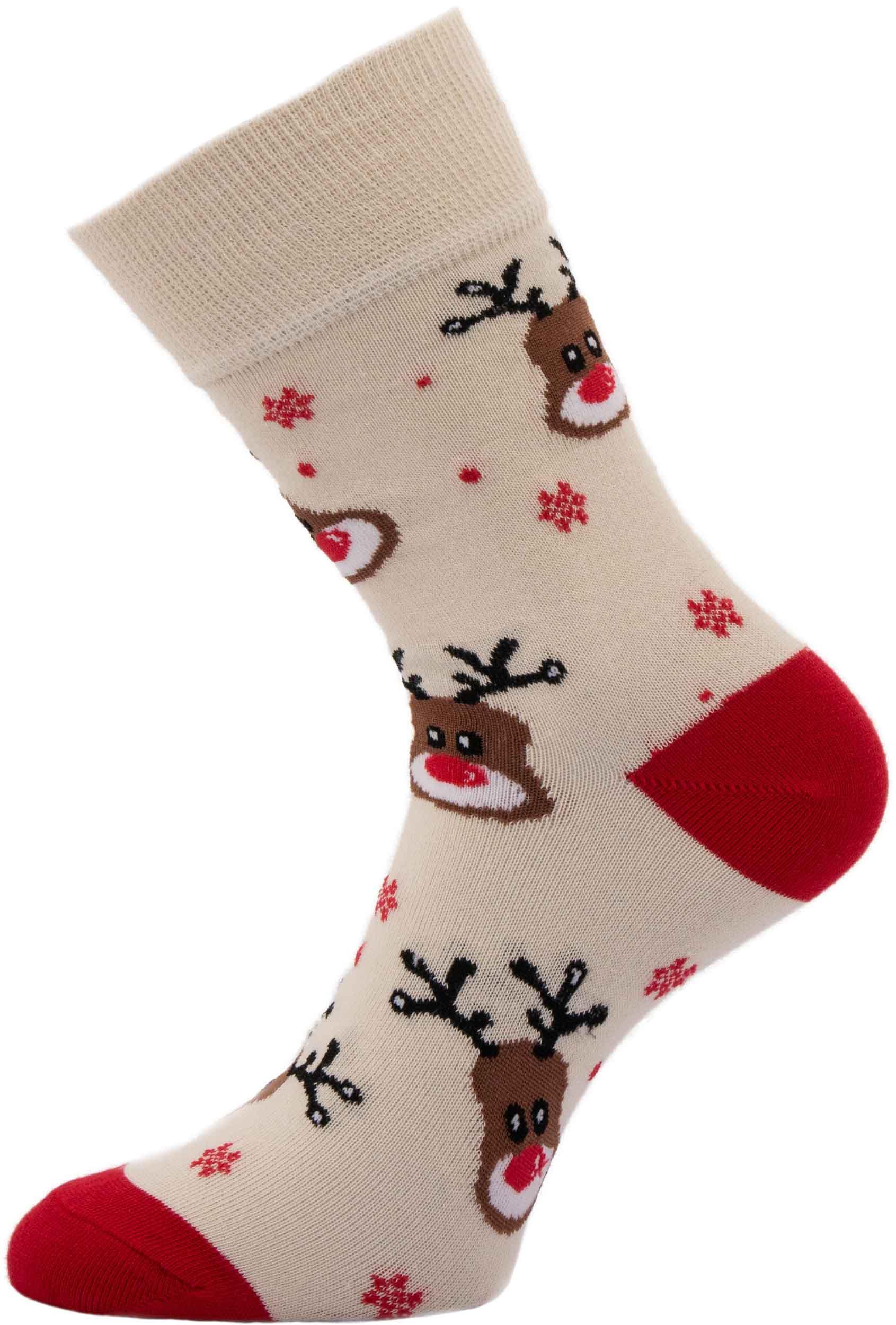 Dámské vánoční ponožky Sobi béžové 37-41