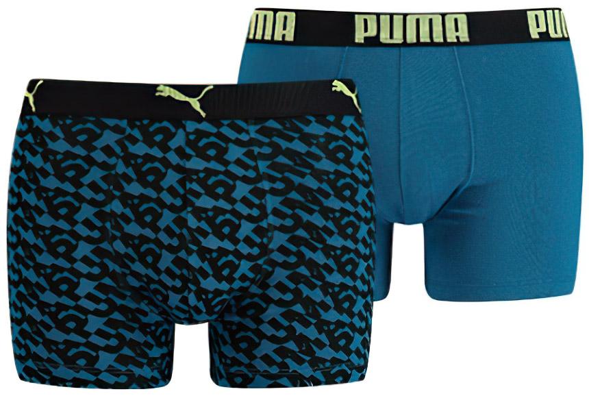 Pánské boxerky Puma Logo AOP Boxer 2-Pack Petrol Blue