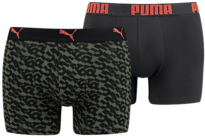 Pánské boxerky Puma Logo AOP Boxer 2-Pack Army Green
