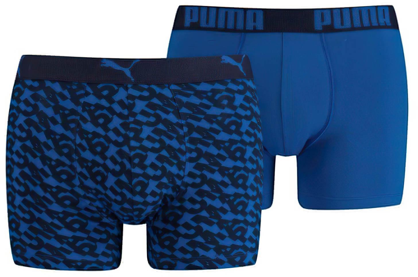 Pánské boxerky Puma Logo AOP Boxer 2-Pack Blue