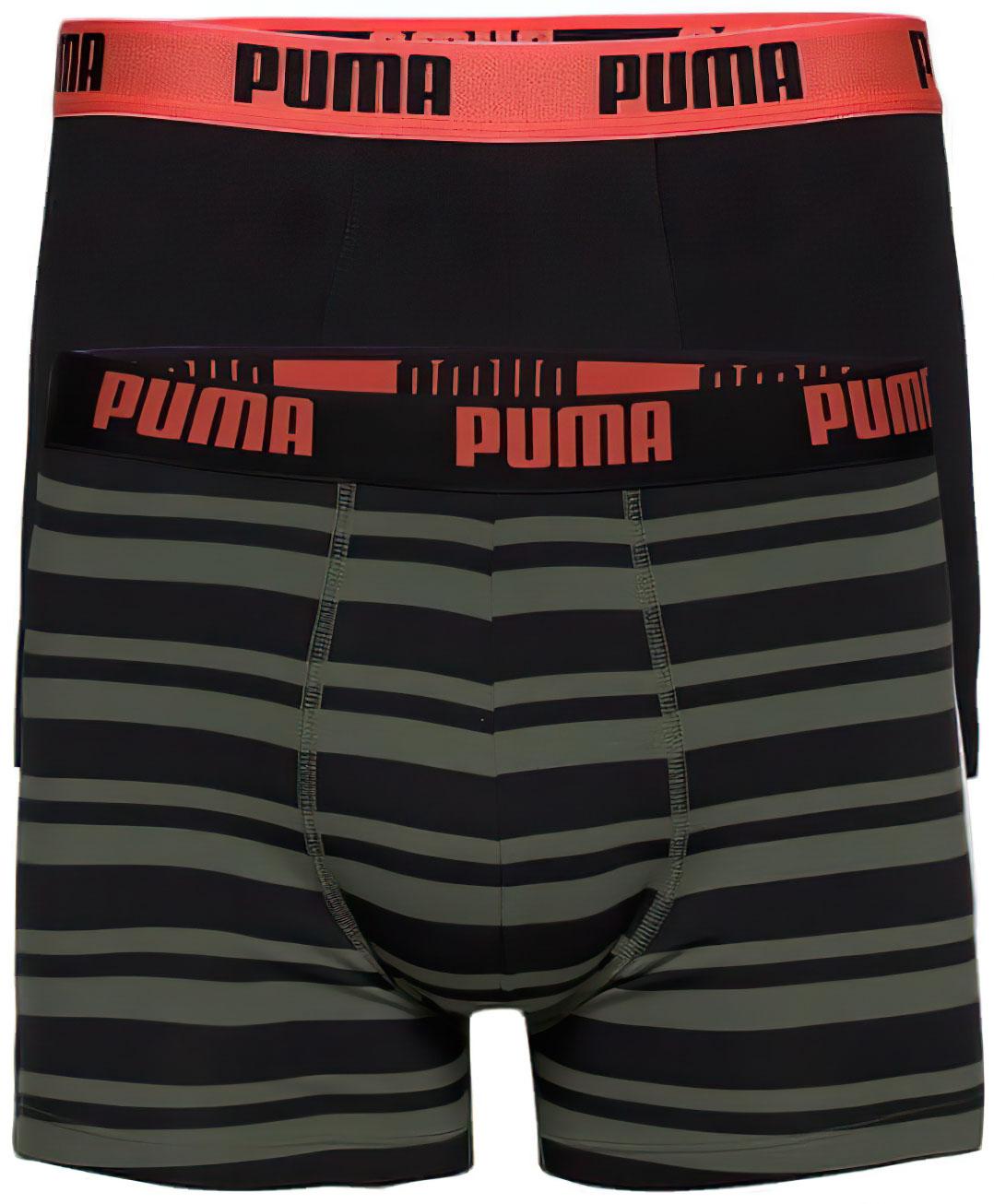 Pánské boxerky Puma Heritage Stripe Boxer 2-Pack Army Green