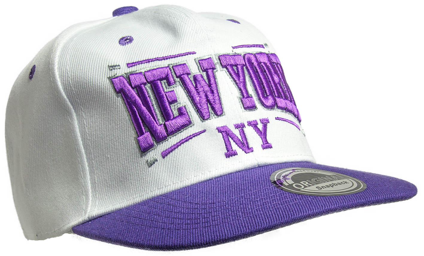 Kšiltovka City New York bílá-fialová_C