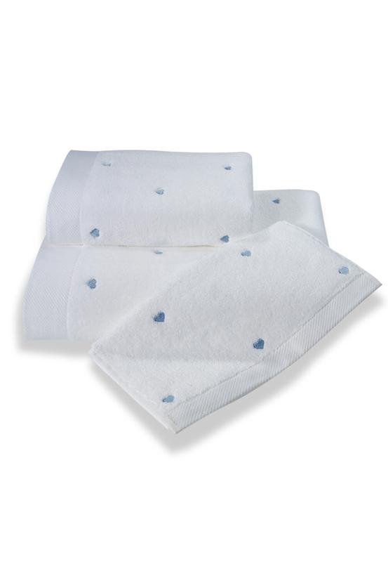 Soft Cotton Malý ručník MICRO LOVE 32x50 cm, Bílá, modré srdíčka, 550 gr / m², Česaná prémiová bavlna 100% MICRO