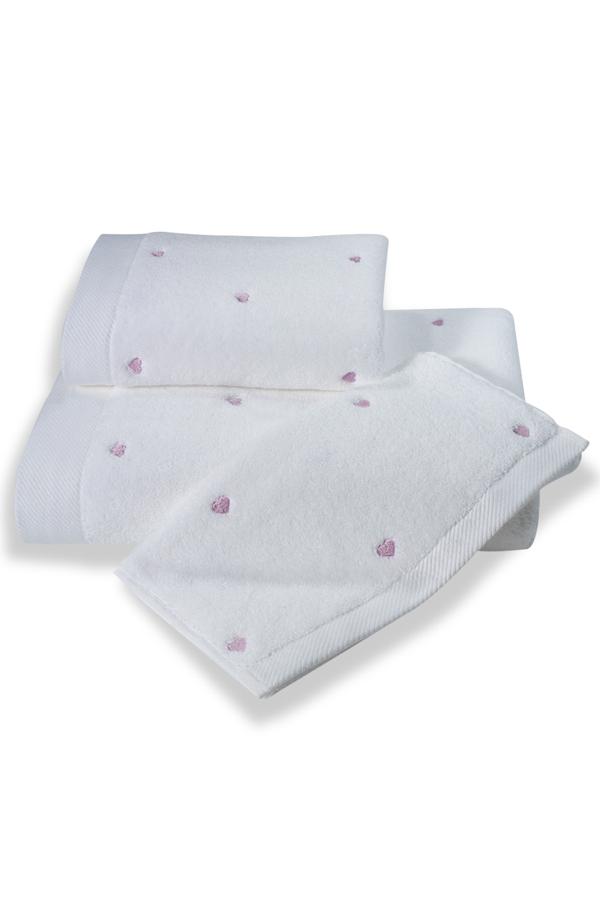Soft Cotton Malý ručník MICRO LOVE 32x50 cm, Bílá, lila srdíčka, 550 gr / m², Česaná prémiová bavlna 100% MICRO