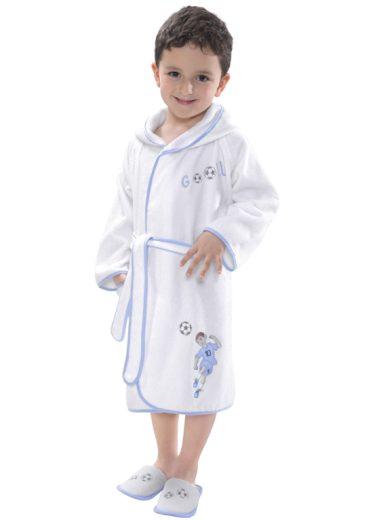 Soft Cotton Dětský župan FOOTBALLER s kapucí v dárkovém balení, Bílá, modrá výšivka, 380 gr / m², Česaná prémiová bavlna 100%, S kapucí