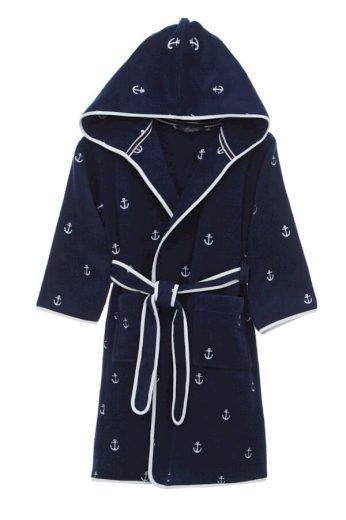 Soft Cotton Dětský župan MARINE BOY s kapucí v dárkovém balení, Tmavě modrá, 420 gr / m², Česaná prémiová bavlna 100%, S kapucí