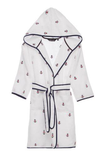 Soft Cotton Dětský župan MARINE GIRL s kapucí v dárkovém balení, Bílá, 420 gr / m², Česaná prémiová bavlna 100%, S kapucí