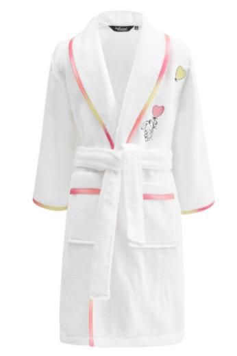 Soft Cotton Dětský župan RAINBOW GIRL v dárkovém balení, Bílá, 380 gr / m², Česaná prémiová bavlna 100%, Šálový límec