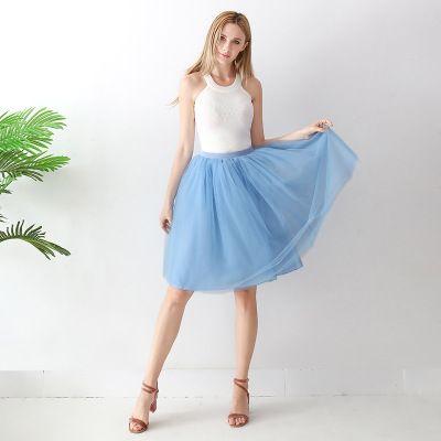 TUTU tylová sukně dámská - modrá 65 cm