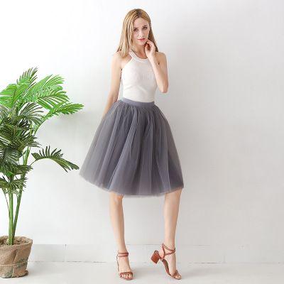 TUTU tylová sukně dámská - šedá 65 cm
