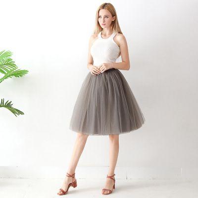TUTU tylová sukně dámská - světle šedá 65 cm