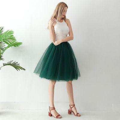 TUTU tylová sukně dámská - tmavě zelená 65 cm