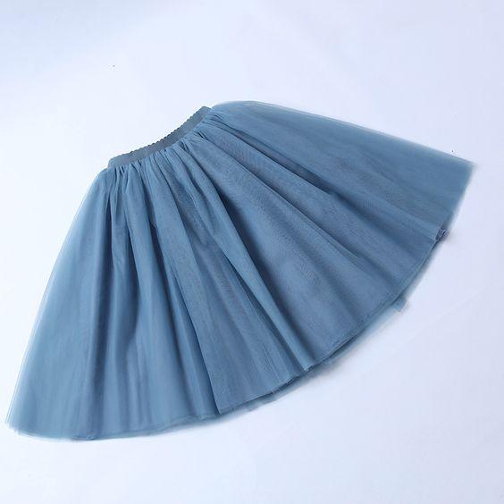 TUTU tylová sukně dámská - modrošedá 65 cm