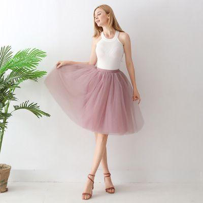 TUTU tylová sukně dámská - starorůžová 65 cm, 7 vrstev